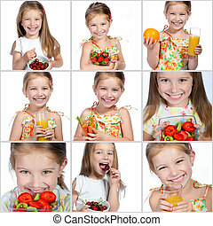 Collage of photos little girl loves fruits