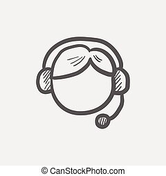 Customer service sketch icon for web and mobile. Hand drawn...