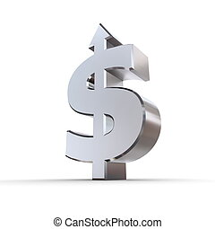 Dollar Symbol Arrow Up - dollar sign made of solid metal...