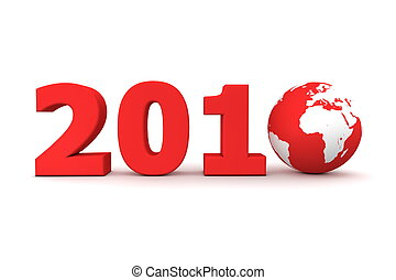 Year 2010 World Red - red date 2010 with 3D globe replacing...