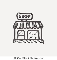Business shop sketch icon for web and mobile Hand drawn...