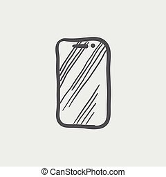 Mobile phone sketch icon for web and mobile Hand drawn...