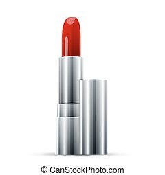 pomade - Red Lipstick. Pomade on white background. excellent...