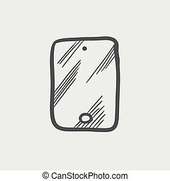 Smartphone sketch icon for web and mobile. Hand drawn vector...