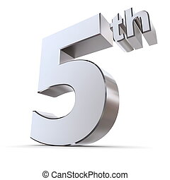 Shiny 5th - Silver/Chrome - shiny 3d number 5th made of...