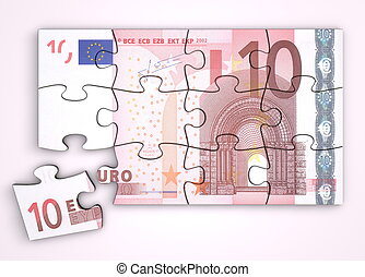 10 Euro Note Puzzle - Top View - 10 Euro note as a puzzle -...