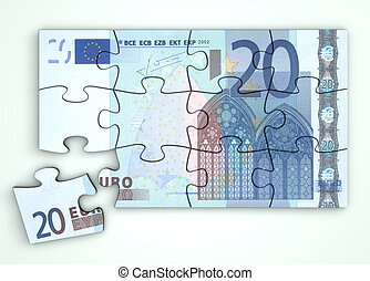 20 Euro Note Puzzle - Top View - 20 Euro note as a puzzle -...