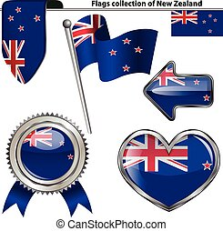 Glossy icons with flag of New Zealand