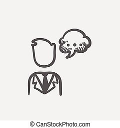 Man with speech bubble sketch icon
