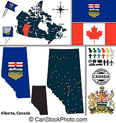 Map of Alberta, Canada - Vector map of state Alberta with...