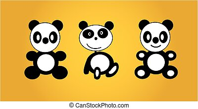 Panda bear yellow background, panda cartoon vector