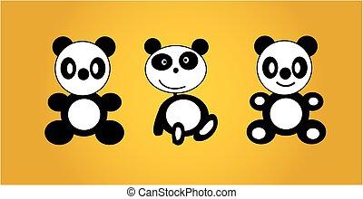 Panda bear yellow background, panda cartoon vector