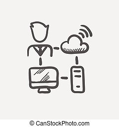 Male office worker with computer set and wifi sketch icon