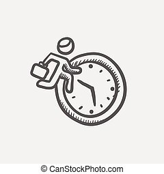Man running in time sketch icon