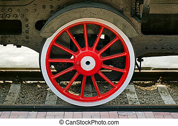 steam locomotive wheel - red wheel of steam locomotive