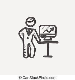 Business presentation sketch icon for web and mobile Hand...