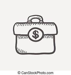 dinero, Bosquejo, maleta, icono
