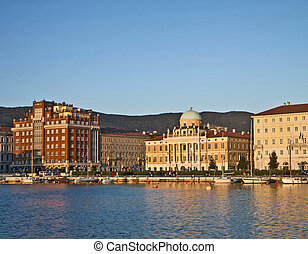 Trieste, Italy, Rive at sunset with neo-classical Carciotti...