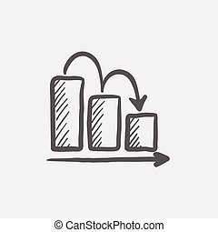 Business graph down sketch icon