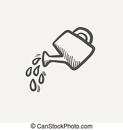Watering can sketch icon for web and mobile. Hand drawn...