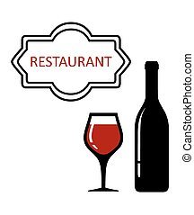 restaurant signboard with glass and bottle silhouette