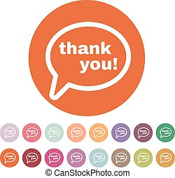 The thank you icon. Thanks symbol. Flat Vector illustration....