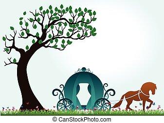 mariposa, árbol, Tirado por caballos