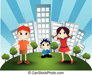 Children with the background