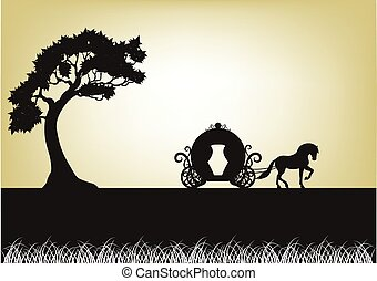 árbol, silueta, Tirado por caballos