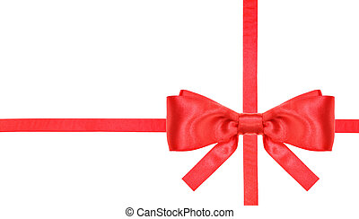 red satin bow knot and ribbons on white - set 2