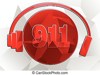 icon 911 . abstract emergency icon isolated on white