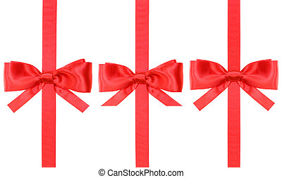set of red silk bows on vertical ribbons isolated