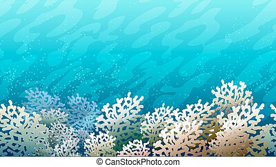 Coral Reef Pattern - Horizontal colorful seamless background...