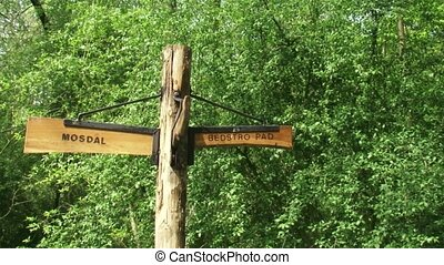 Road sign in Dutch nature park meaning moss valley and...