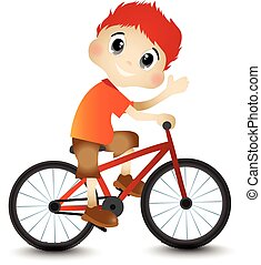 Little Boy and Bicycle - colourfull