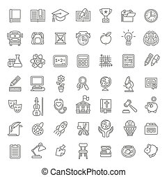 school subjects icons LINE ART final.eps - Set of modern...