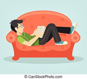 Vector living room with man. Flat illustration