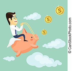 Businessman riding piggy bank. Vector flat cartoon...