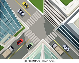 Street in a city, top view Vector flat illustration
