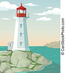 Lighthouse. Vector flat cartoon illustration