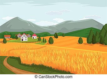 Vector village flat cartoon illustration