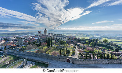 Panoramic view of the medieval town of Trujillo at dusk -...