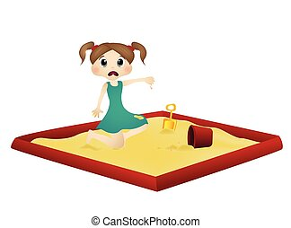 Little girl playing in a sandbox - colourfull