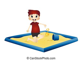Little boy playing in a sandbox - colourfull