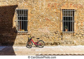 壁, 家, 自転車, に対して, 傾倒