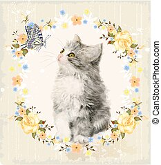 kitten, roses and butterfly.
