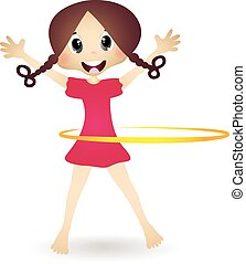 Little Girl With Hula Hoop - colourfull