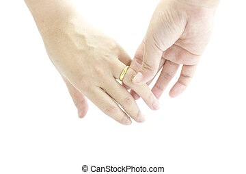 Marriage with golden ring in hand