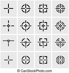 Vector black crosshair icon set on grey background