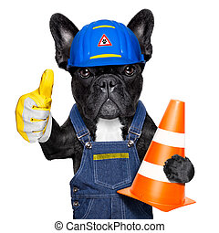 warning sign dog - worker dog with helmet with thumb up...
